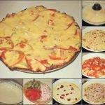 Быстрая пицца на сковороде с ветчиной и луком