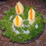 Салат «Каллы» с курицей, опятами и болгарским перцем