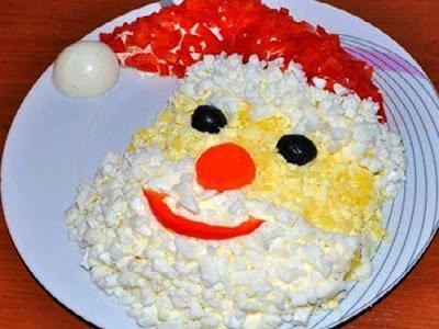 """блюда """"Человечки"""", блюда """"Дед Мороз"""", блюда """"Санта-Клаус"""", салат фигурный, блюда новогодние, рецепты, рецепты новогодние, рецепты праздничные, салат новогодний, стол новогодний, салаты салат слоёный, салат с яйцами, салат с крабовыми палочками, салат с картофелем, салат с морковью, http://eda.parafraz.space/"""