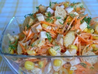 салаты, рецепты, рецепты салатов, салат мясной, , салат с морковью, морковь по-корейски, салат с корейской морковью, грудка куриная, салат с курицей,