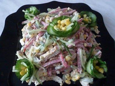салат с омлетом, салат с пекинской капустой, капуста пекинская, омлет, салат с колбасой, салаты, рецепты, рецепты салатов,