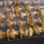Шашлык из сушеных грибов с салом