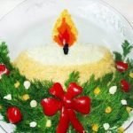 Салат новогодний «Свеча» с обжаренным фаршем