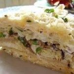 Сырно-шпротный блинный торт